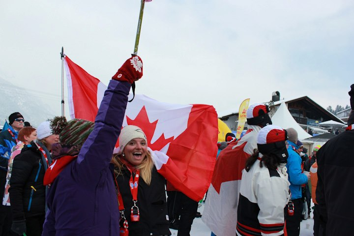 Charotte in Garmisch, Germany, cheering on the Canadian Alpine Skiiers.