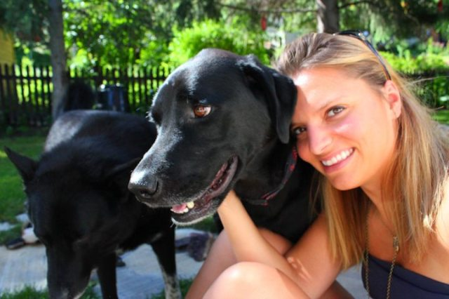 Charlotte and her beautiful black lab, Tomba.