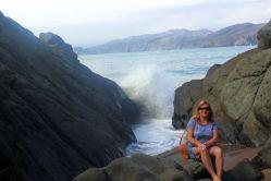 My auntie at Baker Beach.