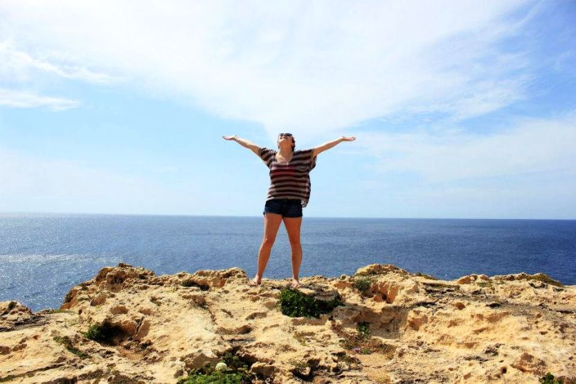 Brooke on top of the Azure Window in Gozo, Malta